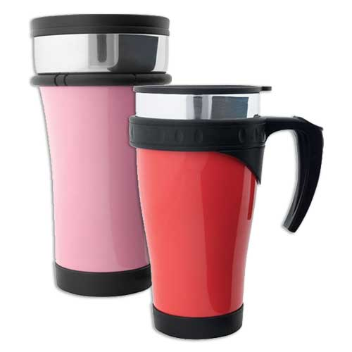 Our line of stainless steel products will keep drinks hot during a commute or a full morning of errands.  We offer stainless steel mugs, tumblers, thermos, vacuum bottles and carafes  in a full array of colors.